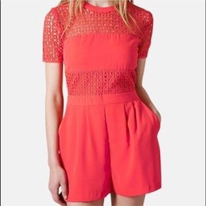 TOPSHOP Coral Lace Eyelet Romper SIZE 4